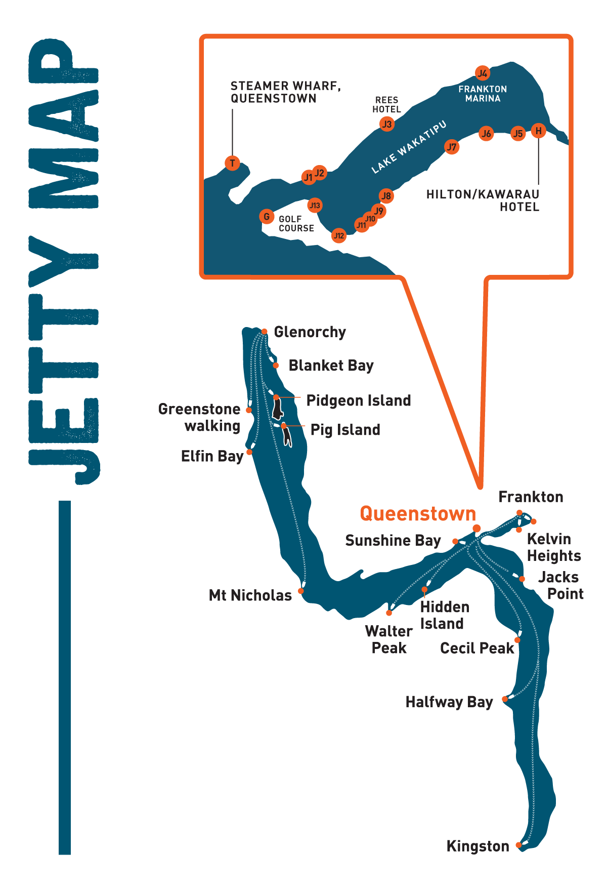 Queenstown Water Taxi - Jetty Map
